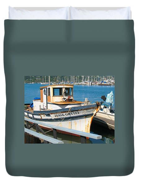 Duvet Cover featuring the photograph Old Fishing Boat In Sausalito by Connie Fox