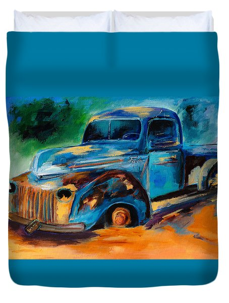 Old Ford In The Back Of The Field Duvet Cover by Elise Palmigiani
