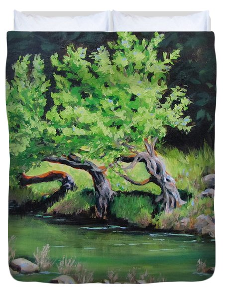 Duvet Cover featuring the painting Old Friends by Karen Ilari
