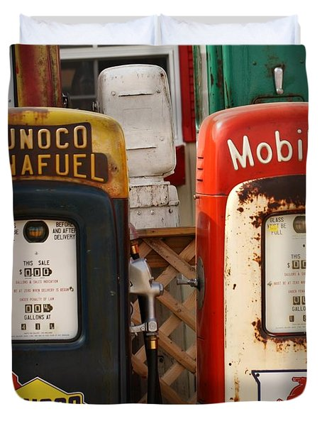 Old Fuel Pumps Duvet Cover