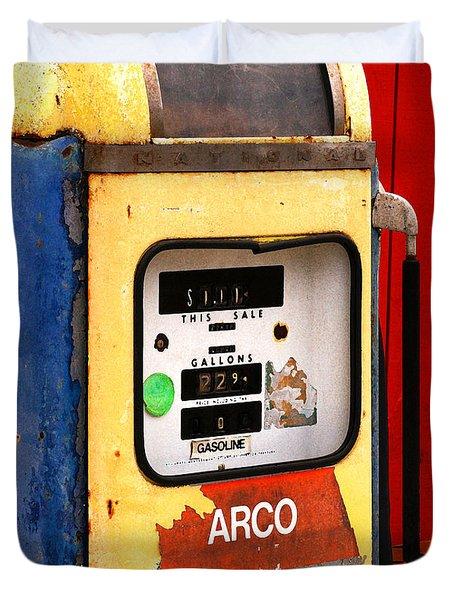 Duvet Cover featuring the photograph Old Gas Pump by Art Block Collections