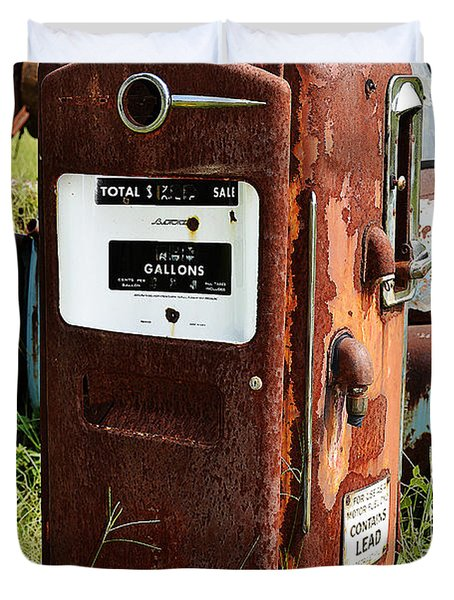 Duvet Cover featuring the photograph Old Gas Pump by Paul Mashburn