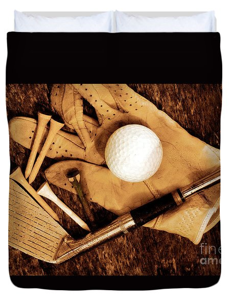 Duvet Cover featuring the photograph Old Golf Days by Charline Xia