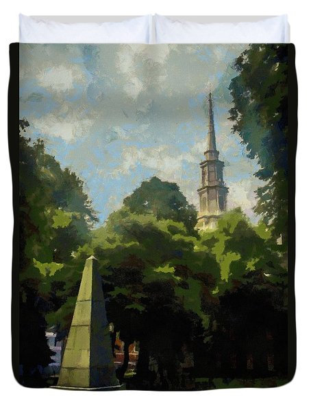 Duvet Cover featuring the painting Old Granery Burying Ground by Jeff Kolker