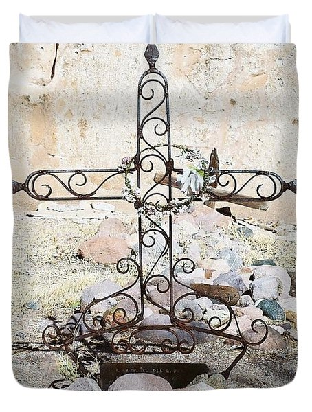 Duvet Cover featuring the photograph Old Gravestone Marker by Kerri Mortenson