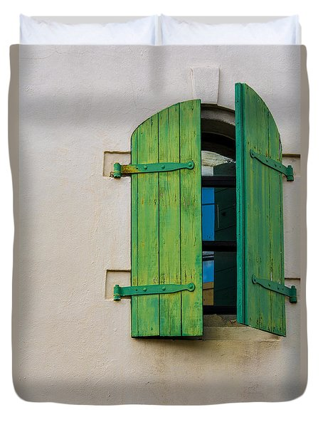Old Green Shuttered Window Duvet Cover