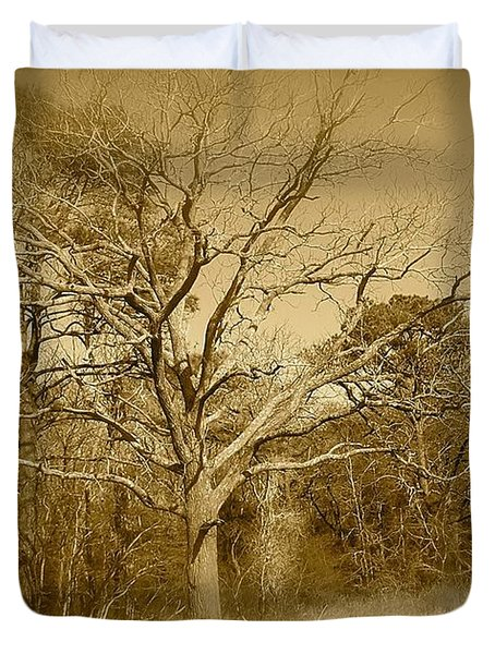 Old Haunted Tree In Sepia Duvet Cover
