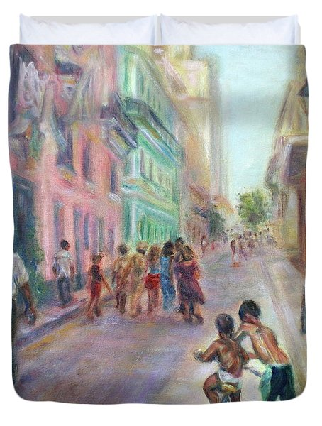 Old Havana Street Life - Sale - Large Scenic Cityscape Painting Duvet Cover