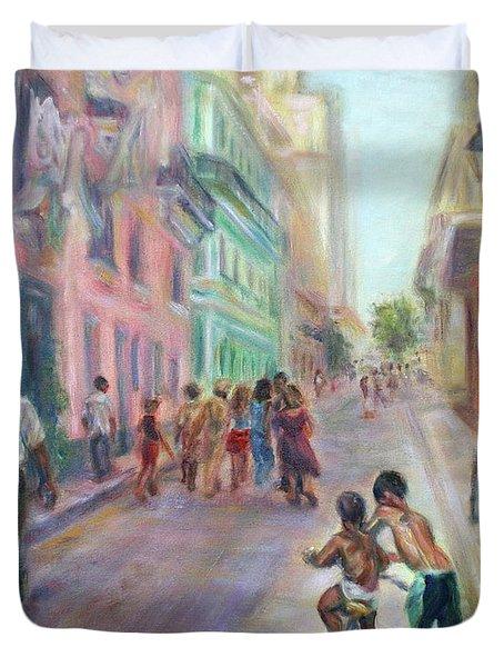 Old Havana Street Life - Sale - Large Scenic Cityscape Painting Duvet Cover