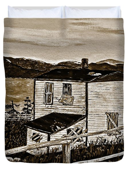 Old House In Sepia Duvet Cover by Barbara Griffin