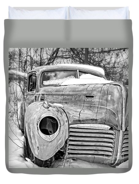 Old Hudson In The Snow Black And White Duvet Cover