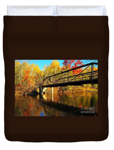 Duvet Cover featuring the photograph Historic Harvey Bridge Over Manistee River In Wexford County Michigan by Terri Gostola