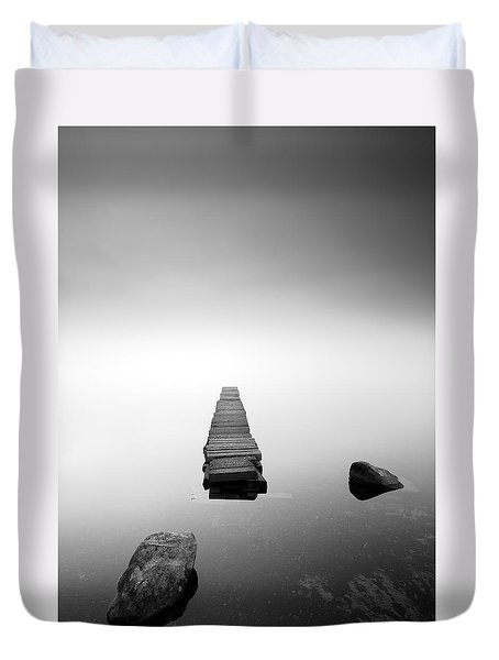 Old Jetty In The Mist Duvet Cover by Grant Glendinning