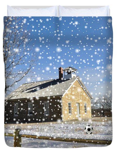 Old Kansas Schoolhouse Duvet Cover by Liane Wright