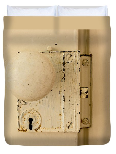 Old Lock Duvet Cover by Photographic Arts And Design Studio
