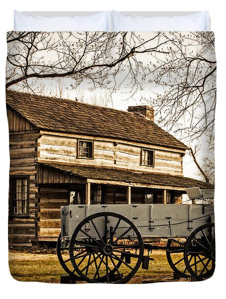 Old Log Cabin In Autumn Duvet Cover