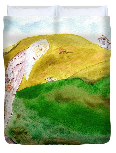 Old Man And The Oranges Duvet Cover by Jim Taylor
