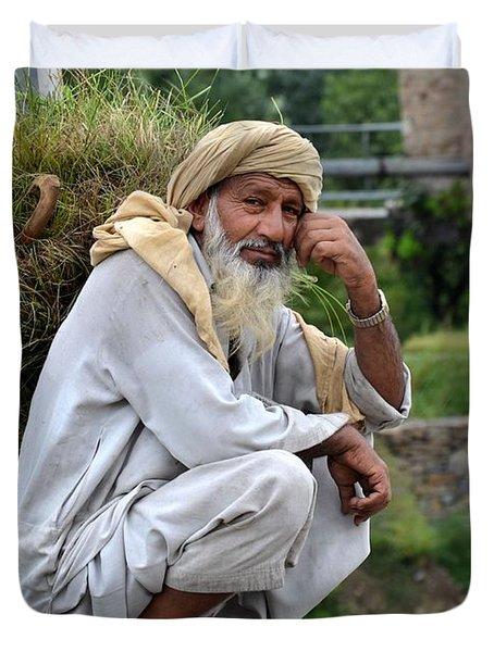 Old Man Carrying Fodder Swat Valley Kpk Pakistan Duvet Cover