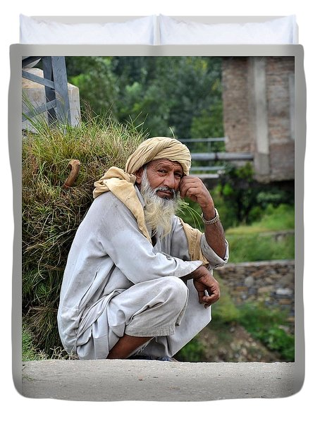Old Man Carrying Fodder Swat Valley Kpk Pakistan Duvet Cover