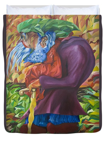 Old Man Collecting Sticks - But Not On The Sabbath Duvet Cover