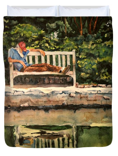 Old Man On A Bench Duvet Cover
