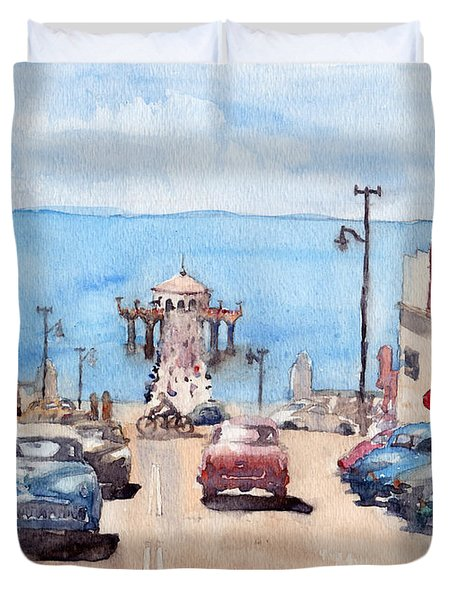 Old Manhattan Beach Duvet Cover