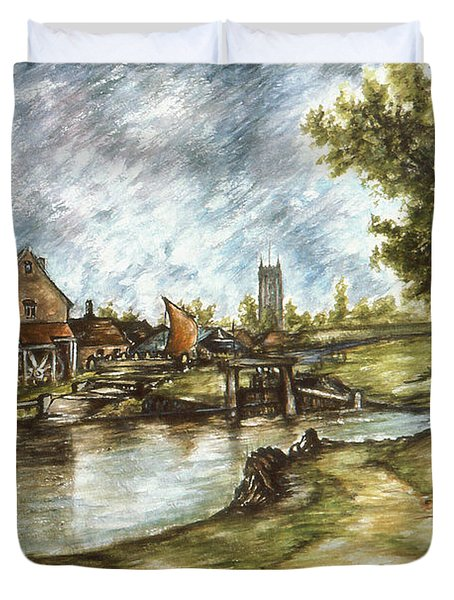 Old Mill By The Water - Impressionistic Landscape Duvet Cover