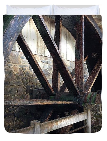 Duvet Cover featuring the photograph Old Mill Water Wheel by Jeannie Rhode