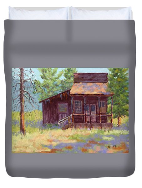 Duvet Cover featuring the painting Old Mining Store by Nancy Jolley