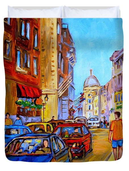 Duvet Cover featuring the painting Old Montreal by Carole Spandau