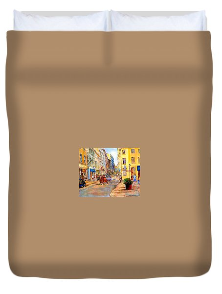 Old Montreal Paintings Youville Square Rue De Commune Vieux Port Montreal Street Scene  Duvet Cover