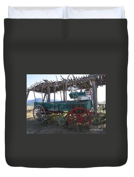 Duvet Cover featuring the photograph Old Native American Wagon by Dora Sofia Caputo Photographic Art and Design