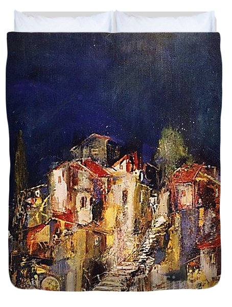 Old Neighborhood At Night Duvet Cover