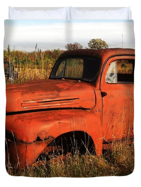 Duvet Cover featuring the photograph Old Orange by Jamie Lynn