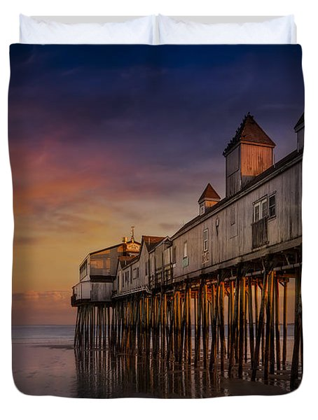 Old Orchard Beach Pier Sunset Duvet Cover