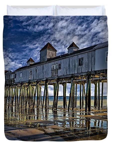 Old Orchard Beach Pier Duvet Cover