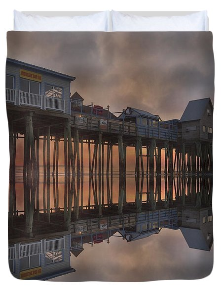 Old Orchard Pier Reflection Duvet Cover