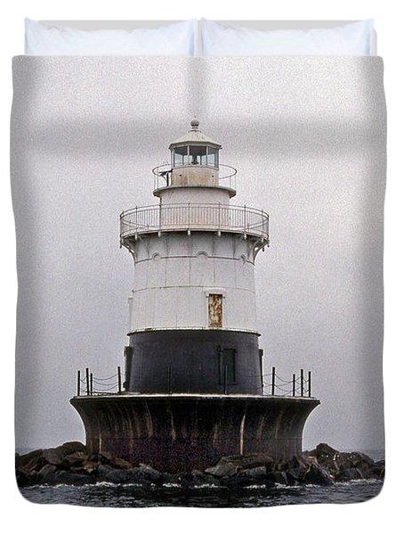 Old Orchard Shoal Lighthouse Duvet Cover