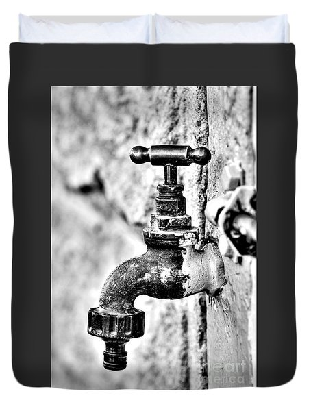 Old Outdoor Tap - Black And White Duvet Cover by Kaye Menner