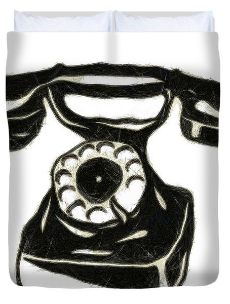 Old Phone Duvet Cover by Michal Boubin