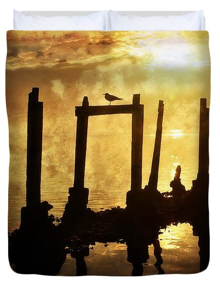 Duvet Cover featuring the photograph Old Pier At Sunset by Marty Koch