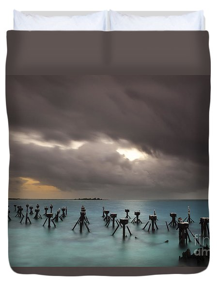 Old Pier In The Florida Keys Duvet Cover