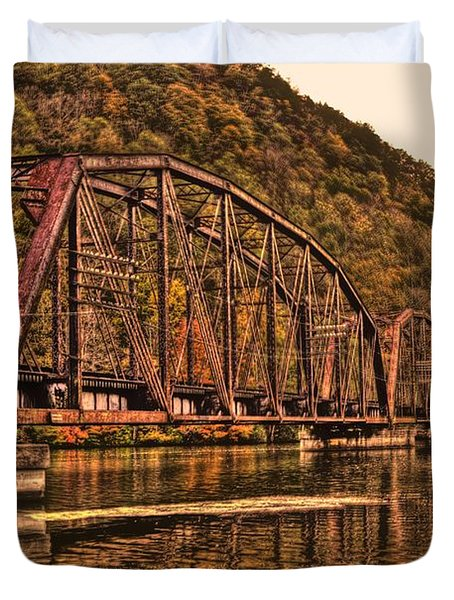Duvet Cover featuring the photograph Old Railroad Bridge With Sepia Tones by Jonny D