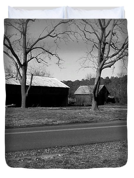 Old Red Barn In Black And White Duvet Cover by Amazing Photographs AKA Christian Wilson