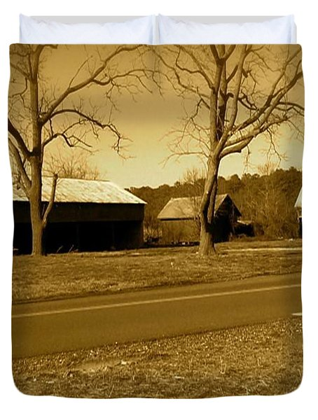 Duvet Cover featuring the photograph Old Red Barn In Sepia by Amazing Photographs AKA Christian Wilson