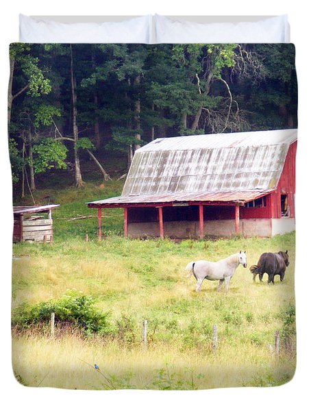 Old Red Barn West Of Brevard Nc Duvet Cover