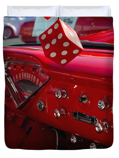Duvet Cover featuring the photograph Old Red Chevy Dash by Tikvah's Hope