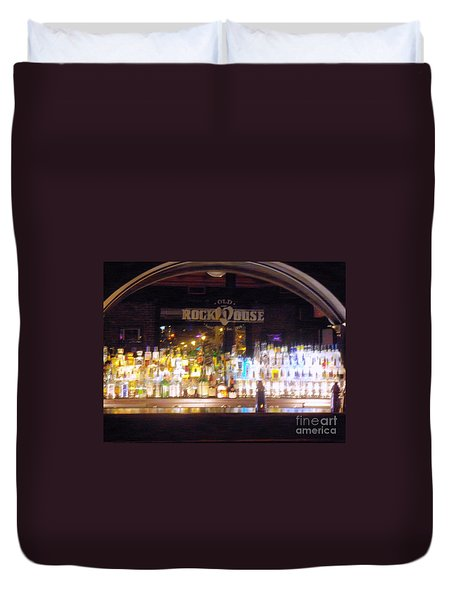 Duvet Cover featuring the photograph Old Rock House Bar by Kelly Awad