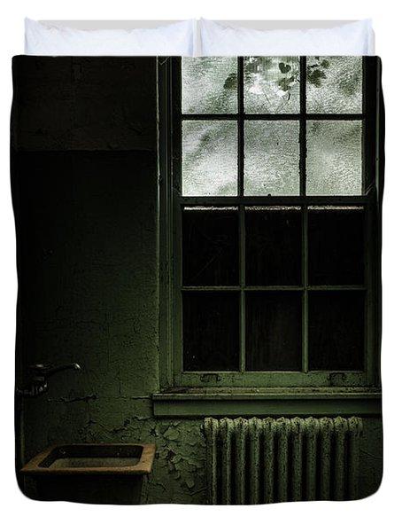 Old Room - Abandoned Asylum - The Presence Outside Duvet Cover by Gary Heller