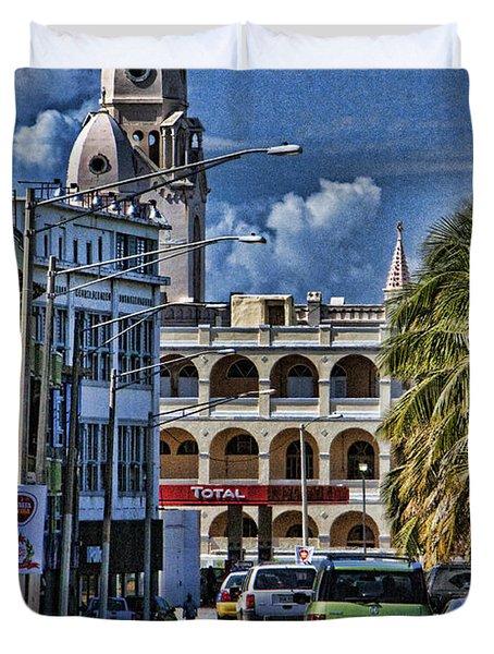 Old San Juan Cityscape Duvet Cover by Daniel Sheldon